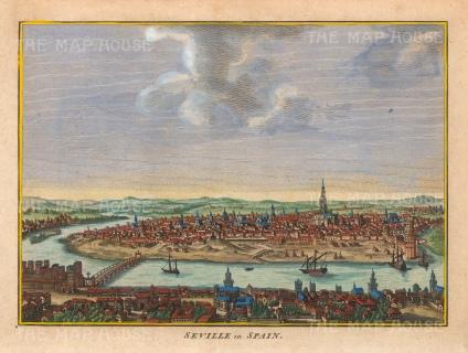"""Hogg: Seville. 1793. A hand coloured original antique copper engraving. 10"""" x 6"""". [SPp1098]"""