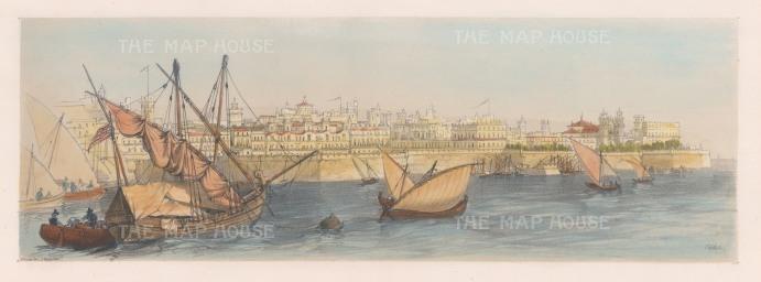 """Vivian: Cadiz. 1838. An original hand coloured antique lithograph. 15"""" x 5"""". [SPp857]"""