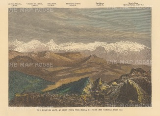 Pennine Alps: View from Becca di Nona of La Dent Blanche to Monte Rosa. With key to elevations.