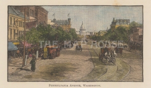 "Harper's Weekly: Pennsylvania Aveunue, Washigton D.C. c1892. A hand coloured original antique wood engraving. 6"" x 4"". [USAp4898]"