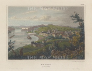 "Meyer: Weston, Missouri. 1836. A hand coloured original antique steel engraving. 6"" x 4"". [USAp4938]"