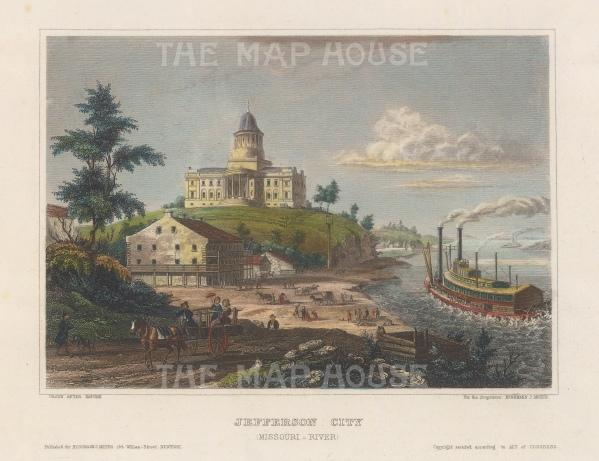 "Meyer: Jefferson City, Missouri. 1854. A hand coloured original antique steel engraving. 6"" x 4"". [USAp4939]"
