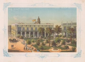 View over the Plaza de Armas. With decorative blue border. From the 'pirate' edition by Bernardo May.