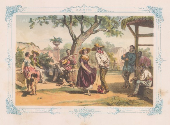 El Zapateado: The national dance of Cuba. With decorative blue border. From the 'pirate' edition by Bernardo May.