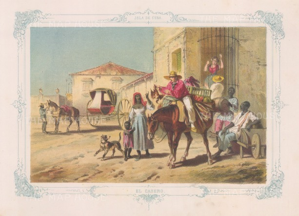 El Casero. The merchant of home grown foods. With decorative blue border. From the 'pirate' edition by Bernardo May.
