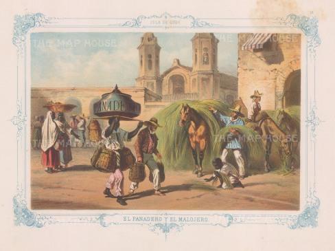 El Panadero y El Malojero: The bread seller and hay maker. With decorative blue border. From the 'pirate' edition by Bernardo May.