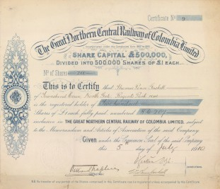 """G.N.C.R.C. Ltd: Great Northern Central Railway of Columbia Share certificate.1910. An original colour antique mixed-method engraving. 12"""" x 11"""". [BONDp58]"""