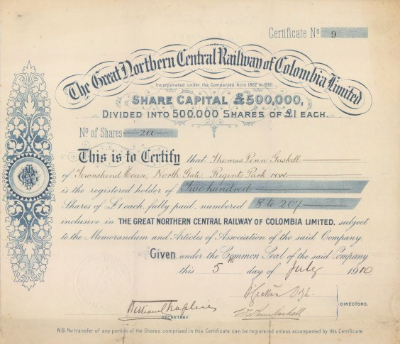 "G.N.C.R.C. Ltd: Great Northern Central Railway of Columbia Share certificate.1910. An original colour antique mixed-method engraving. 12"" x 11"". [BONDp58]"
