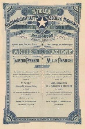 """Orell Fussli & Co. Anonima per la fabbriaczione di vini spumante, Zurich. 1000 Franc Share certificate. 1889. An original colour antique mixed method engraving. 9"""" x 14"""". [BONDp59]"""