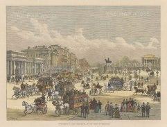 "The Graphic Magazine: Hyde Park Corner. 1888. A hand coloured original antique wood engraving. 14"" x 9"". [LDNp10708]"