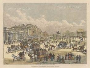"Graphic Magazine: Hyde Park Corner. 1888. A hand coloured original antique wood engraving. 14"" x 9"". [LDNp10708]"