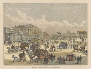 "Graphic Magazine: Hyde Park Corner. 1888. A hand coloured original antique wood engraving. 14"" x 9"". [LDNp10708]"