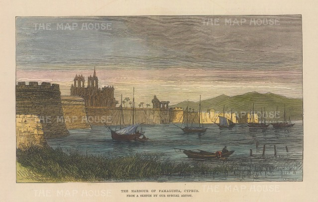"Illustrated London News: Famagusta, Cyprus. 1878. A hand coloured original antique wood engraving. 8"" x 5"". [MEDp326]"