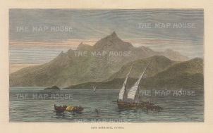 "Illustrated London News: Cape Kormakiti, Cyprus. 1878. A hand coloured original antique wood engraving. 8"" x 5"". [MEDp328]"