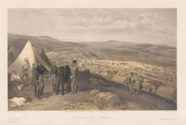 Cavalry Camp: Camp of the Scots Greys, Royals, Hussars, Dragoons and Inniskillens. Maj Gen James Scarlett and his entourage on the left. Key available.