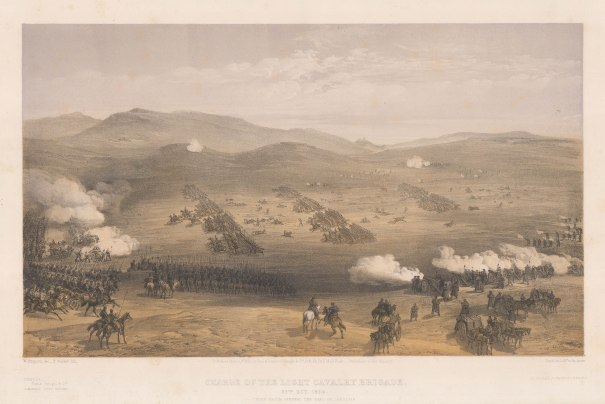 Charge of the Light Division: Looking towards Balaclava. The charge led by the 13th Dragoons and 17th Lancers, followed by the 4th Lt Dragoons and 11Th Hussars, and the 8th Hussars. Key available.