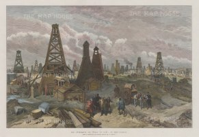 The Petroleum Oil Wells at Baku on the Caspian. The first pipeline was constructed here in 1877, the same year the Nobels' built the first oil tanker. By this time there were over 25 pipelines and more than 250 tankers on the Caspian.