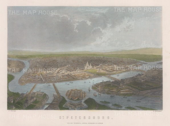 "Mackenzie: St Petersburg. c1840. A hand coloured original antique steel engraving. 8"" x 5"". [RUSp794]"
