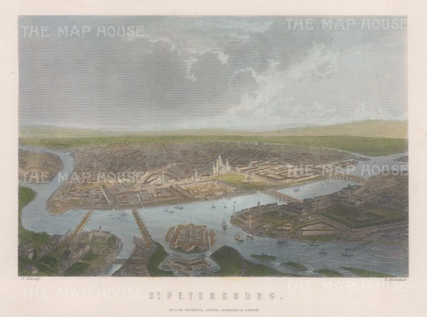 "Mackenzie: St Petersburg. c1840. A hand coloured original antique steel engraving. 8"" x 5"". [RUSp794]"