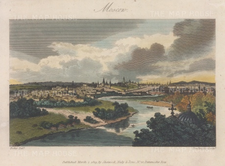 "Sherwood, Neely & Jones: Moscow. 1809. A hand coloured original antique copper engraving. 6"" x 4"". [RUSp795]"
