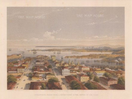 del Sebastopol: Panoramic view from the watch tower with the cathedral, Admiralty to the right, Artillery Bay on the left, and looking towards Fort Constantine and the Inkermann lighthouses..