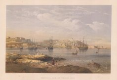 Sebastopol: Panoramic view from the northern forts towards Fort St Nicholas, Fort Alexander and Inkermann Bay.
