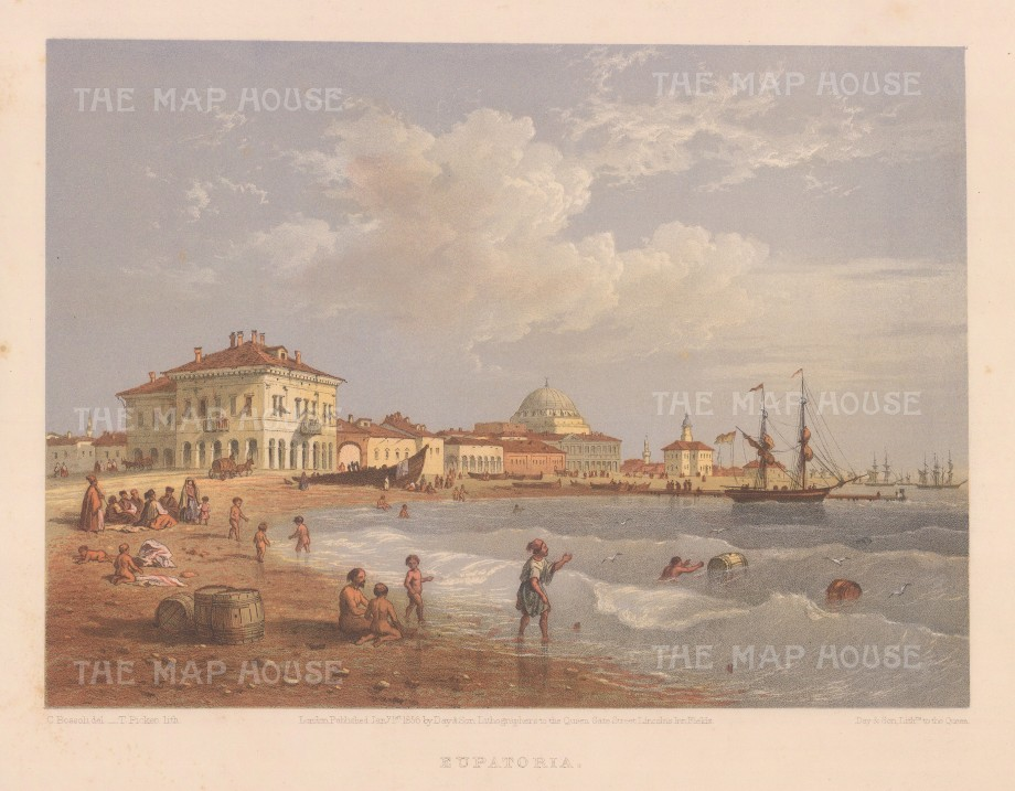 "Bossoli: Eupatoria, Ukraine. 1856. An original colour antique lithograph. 11"" x 7"". [RUSp801]"