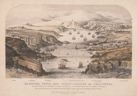 Sebastopol: Panoramic view of the harbour, town and fortifications. After H. Schmidt. With key.