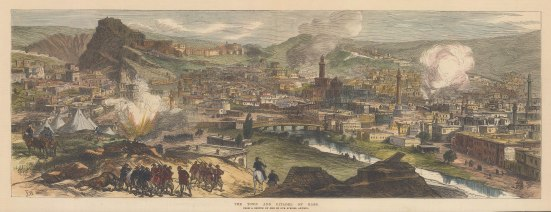 Kars: View of the town and Citadel after the defeat of the Ottoman forces during the Russo-Turkish war.
