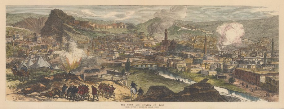 Kars:View of the town and Citadel after the defeat of the Ottoman forces during the Russo-Turkish war.