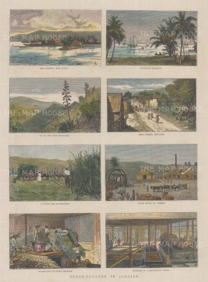 Views of King Street and the Harbour, Port Royal, Blue Mountain with four scenes of sugar production.
