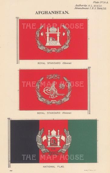 "Malby & Sons. Royal Standard and National Flag. c1930. An original vintage chromolithograph. 6"" x 9"". [AFGp154]"