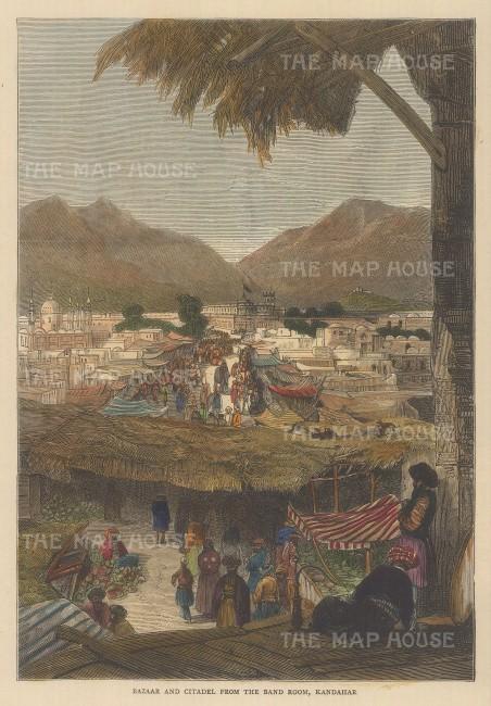 "Illustrated London News: Kandahar. c1860. A hand coloured original antique wood engraving. 6"" x 9"". [AFGp91]"