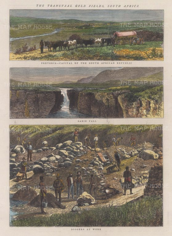 Gold-mining: Triple panorama of Pretoria, Sabie Fall and Transvaal gold miners at work.