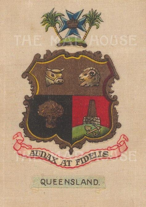 "Cigarette Cards: Australia, Queensland arms. c1915. Original printed colour on silk. 2"" x 3"". [ARMp101]"