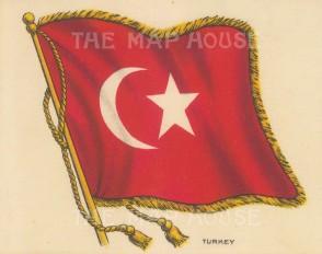 "Cigarette Cards: Turkey. c1910. Original printed colour on silk. 6"" x 5"". [ARMp121]"