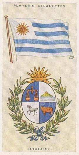 "Player's Cigarettes: Uruguay. c1935. An original antique chromolithograph. 1"" x 3"". [ARMp123]"