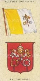 """Player's Cigarettes: Vatican. c1935. An original antique chromolithograph. 1"""" x 3"""". [ARMp128]"""