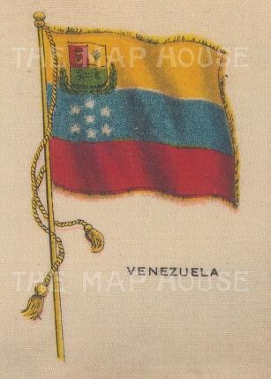 "Cigarette Cards: Venezuela. c1910. Original printed colour on silk. 2"" x 3"". [ARMp129]"