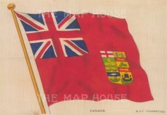 "BDV Cigarettes: Canada, Red Ensign. c1910. Original printed colour on silk. 6"" x 4"". [ARMp14]"