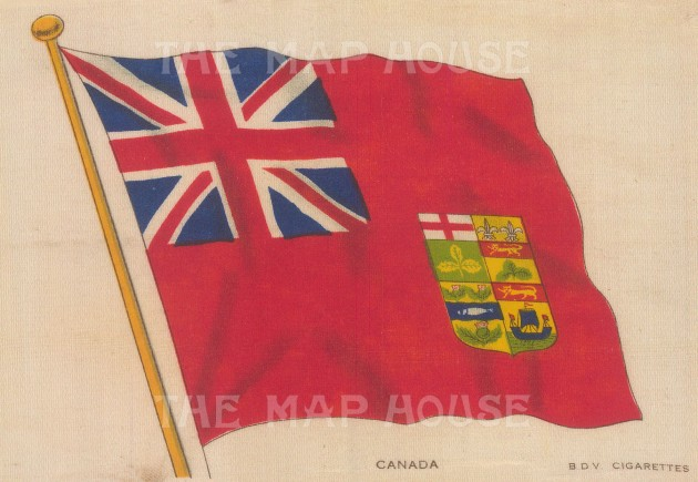 "BDV Cigarettes: Canada, Red Ensign. c1910. Original printed colour on silk. 6"" x 4"". [ARMp14]"
