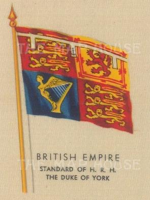 "Kensitas Cigarettes: Standard of HRH the Duke of York. c1912. Original printed colour on silk. 2"" x 3"". [ARMp153]"