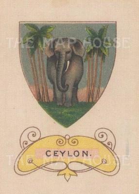 "Cigarette Cards: Flag of Ceylon. c1915. Original printed colour on silk. 2"" x 3"". [ARMp17]"