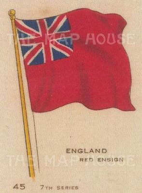 "BDV Cigarettes: Enland, Red Ensign. c1900. Original printed colour on silk. 2"" x 3"". [ARMp34]"