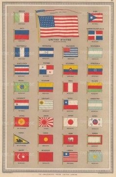 "Philip & Son: Flags of All Nations. c1920. An original antique chromolithograph. 10"" x 14"". [ARMp40]"