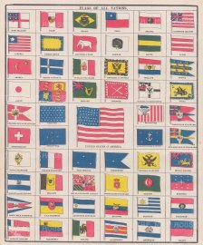 """Anonymous: Flags of All Nations. c1910. An original antique chromolithograph. 10"""" x 12"""". [ARMp41]"""