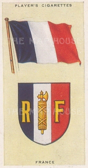 """Player's Cigarettes: France. c1935. An original antique chromolithograph. 1"""" x 3"""". [ARMp42]"""