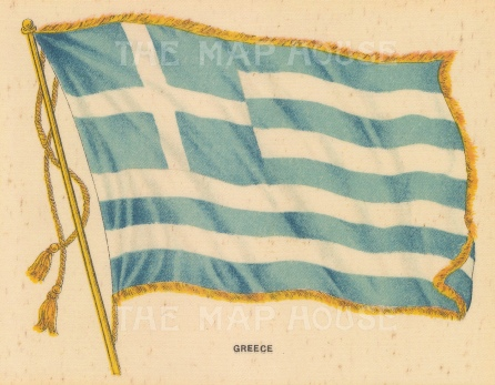 "BDV Cigarettes: Greece. c1910. Original printed colour on silk. 6"" x 4"". [ARMp47]"