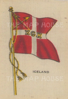 "Cigarette Cards: Iceland. c1910. Original printed colour on silk. 2"" x 3"". [ARMp53]"