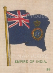 "Cigarette Cards: Empire of India flag. c1910. Original printed colour on silk. 2"" x 3"". [ARMp56]"